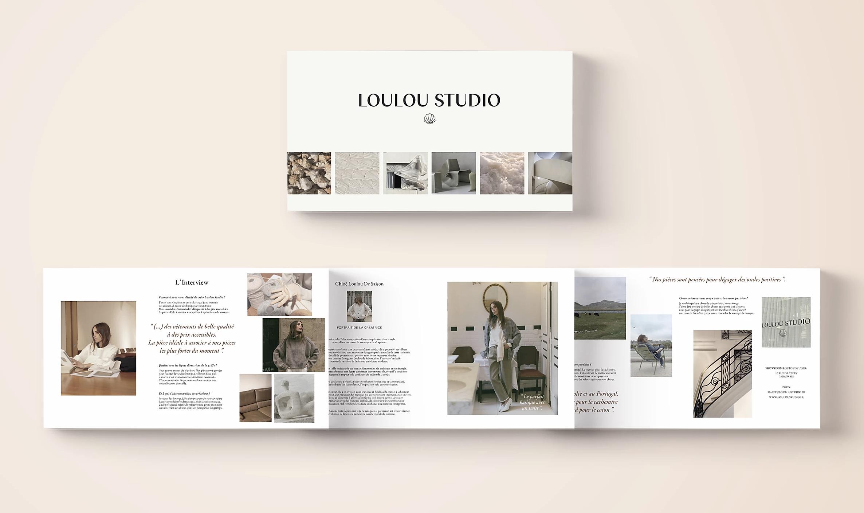 Création et mise en pages de présentation de la créatrice et de la marque.